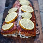 Grilled Cedar Plank Salmon with Roasted Eggplant