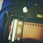 loading color film into camera