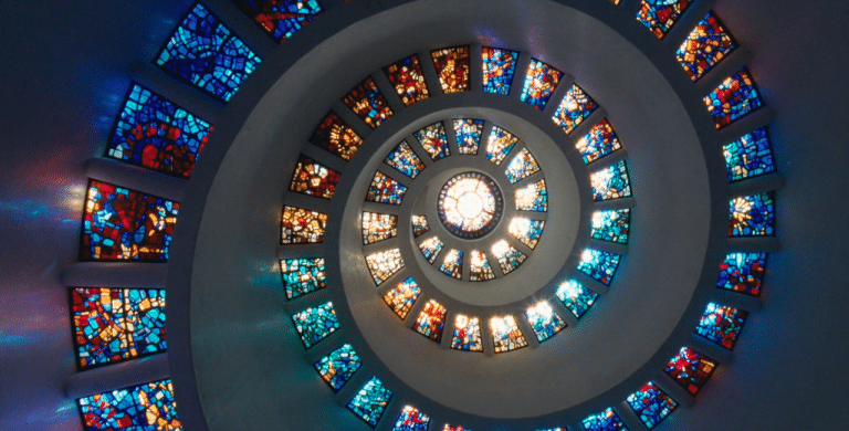 Stained Glass Spiral Staircase