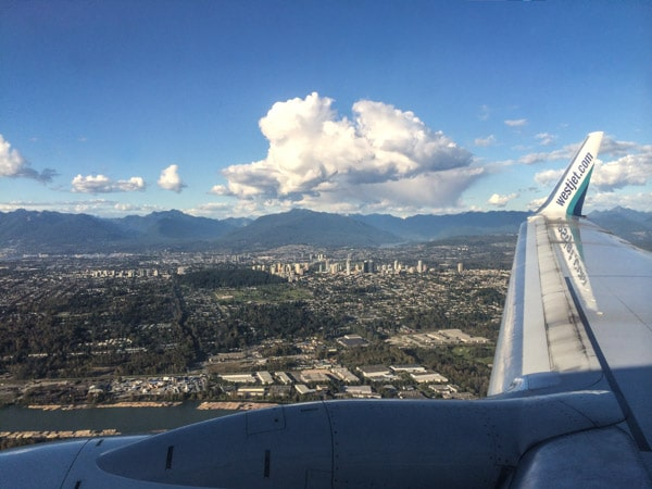 WestJet wingshot landing at Vancouver International Airport