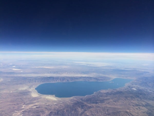 view from 45,000 feet above Earth