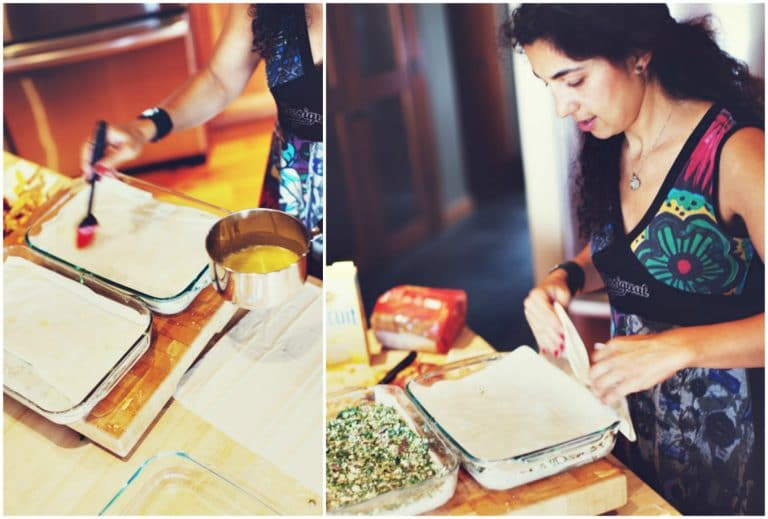 Tamar makes homemade spanakopita