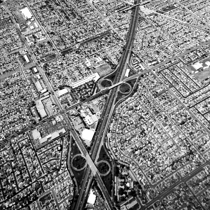 areal view ca 405 freeway black and white